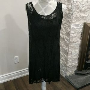 Two-piece black crocheted dress made in Italy